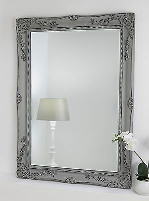 "Isabella Grey Shabby Chic Rectangle Antique Wall Mirror 42"" x 30"" Large"