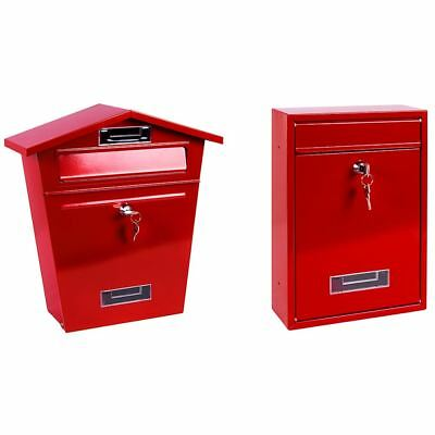 Red Post Box Steel Letter Mail Square House Wall Mountable Outdoor Key Lock