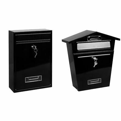 Black Post Box Steel Letter Mail Square House Wall Mountable Outdoor Key Lock
