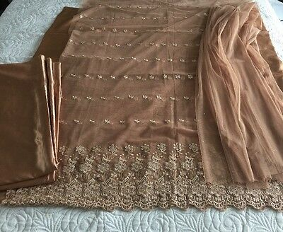 Pakistani Asian Embrioded Net And Silk Suit UN-STITCHED SHALWAR KAMEEZ SUIT
