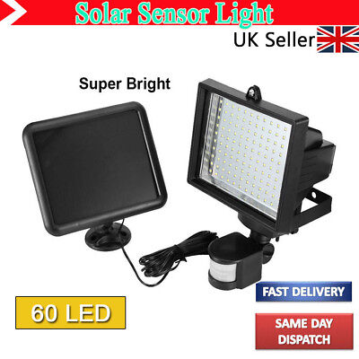 Outdoor Solar Power Motion Sensor Garden Floodlight 60 LED PIR Security Light Su