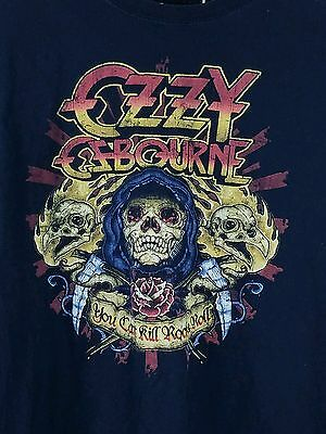"""OZZY OSBOURNE """"CAN'T KILL ROCK N ROLL"""" BLACK T-SHIRT MENS M GRAPHIC vintage 80s"""