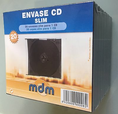 CD Slim pack 200 cajas estuches 1 disco bandeja negra y tapa transparente