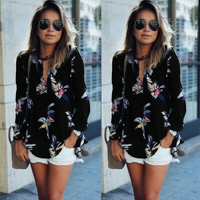 AU 8-22 Womens Ladies Casual Long Sleeve Blouse Summer Floral Shirt Tops T-shirt