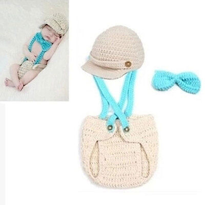 Infant Boys Knit Crochet Photography Hat Overalls Pilot Baby Costume Photo Props