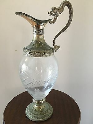 Figural Wine, Water, Jug Silver Plate Glass Pitcher Decanter With Dragon Handle