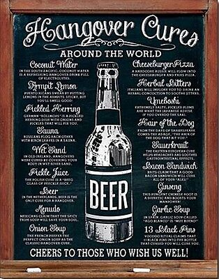 Hangover Cures Vintage Retro Metal Tin Sign Funny Pub Bar Kitchen Wall Beer