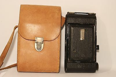 Ensign Selfix 20 Folding Roll Film Camera C1935 + Case Good Working Cond (Used)