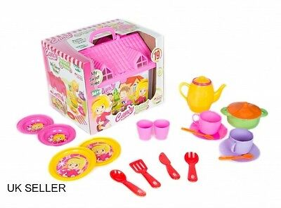 Kids,Girls, Boys toys 18 Piece Candy Tea Set with Carry House and Accessories