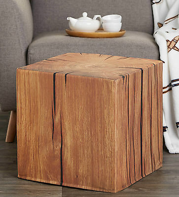 Pouf Ottoman CHALET STYLE Pouffe Maple print log square Poof Foot Stool Floor