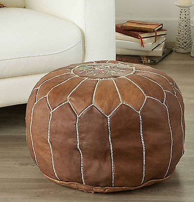 Pouf Ottoman MOROCCAN Pouffe Morocco star LEATHER Poof Foot Stool Floor FILLED