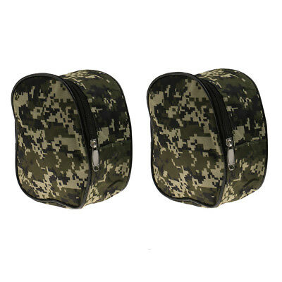 2pcs Durable Camouflage Fishing Reel Case Protector Cover Storage Pouch Bag