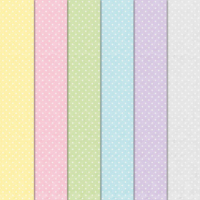 """Craft Creations Scrapbook Paper White Polka Dots Pastel Colours 12"""" x 12"""" 120gsm"""