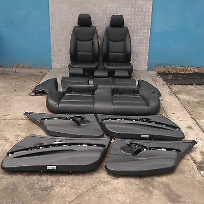 BMW 3 Series E91 Touring Black Leather Interior Seats with Airbag and Door Cards