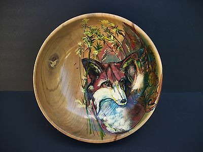 Large Hand Crafted Wood Bowl by Oleo Stockton Hand Painted Fox Art 12""