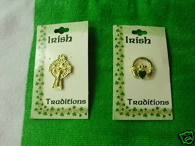 Irish Republican 2 Metal Brooches 1 Claddagh Ring And A Celtic Cross New Release
