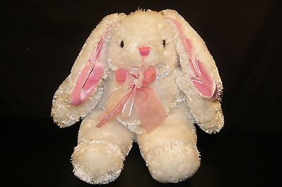 "Dan Dee Sparkling White Bunny Rabbit Pink Bow Floppy Ears 14"" Tall"