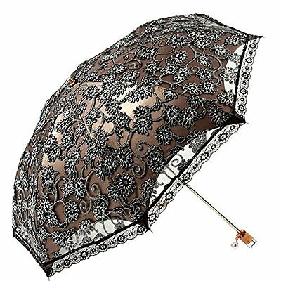 US Lace Princess Women Parasol Sun Anti-UV Folding Wedding Bridal Umbrella Black