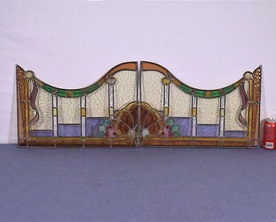 Pair of Vintage French Stained/Leaded Glass Panels