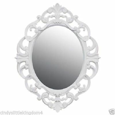 New Vintage Style Shabby Chic Oval Ornate Mirror Home Decor 40 x 30cm - White