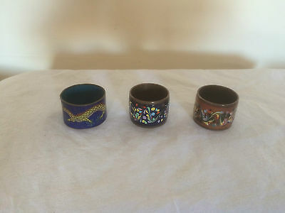 3 Lovely Highly Decorated Cloisonne Napkin Rings
