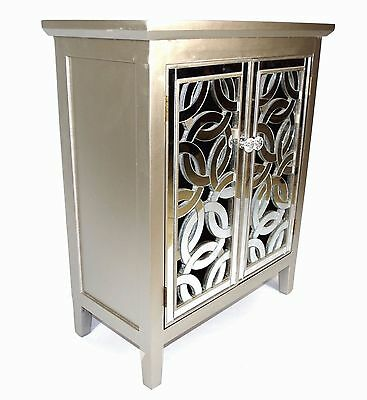 Solid Wood Mirror Fronted Silver Art Deco Design Crystal Cabinet Storage