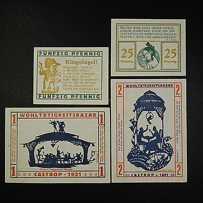 A 4 Scheine Top Notgeld Castrop Wohltätigkeits Bazar ,german emergency money unc