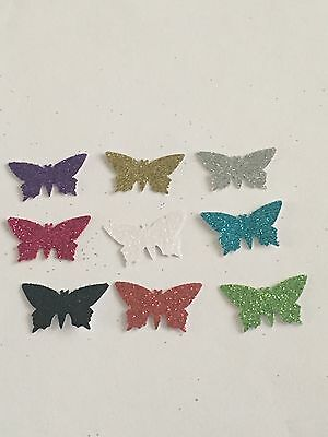 100 hand punched glittery butterflies