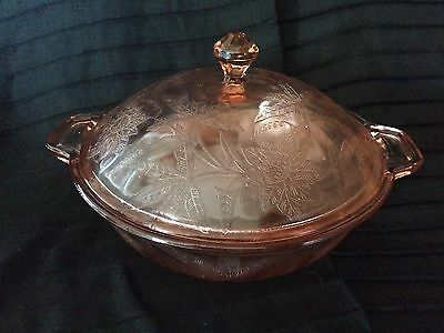 "Vintage Depression Glass FLORAL ""POINSETTIA"" 8"" COVERED VEGETABLE BOWL W/ LID"