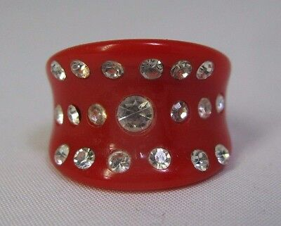 Vintage Opaque Red Lucite Ring With Clear Rhinestones - Concave Design - Size 7