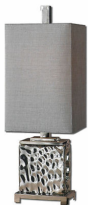"""Bashan Contemporary Nickel Plated Water Glass Table Lamp 32""""H- Uttermost 29927-1"""