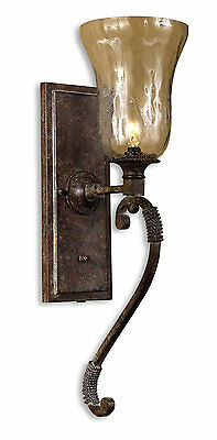 Galeana Blown-Glass & Iron Metal Wall Sconce Lighting Fixture by Uttermost 22418