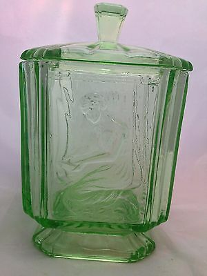Art Deco Green Glass SOWERBY  'Pandora's Box' Biscuit Barrel / Jar with Lid