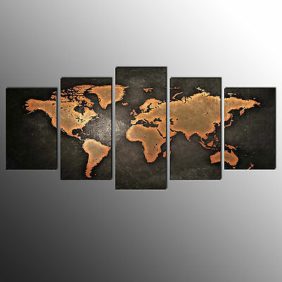 Canvas Print For Living Room World Map Wall Art Canvas Painting-5pcs-No Frame