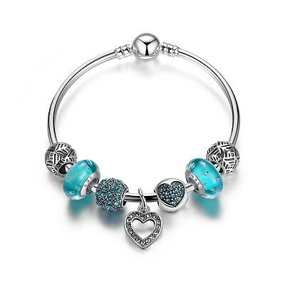 European Murano Glass Beads S925 Silver Charms Bracelet with Crystal Clip Charms
