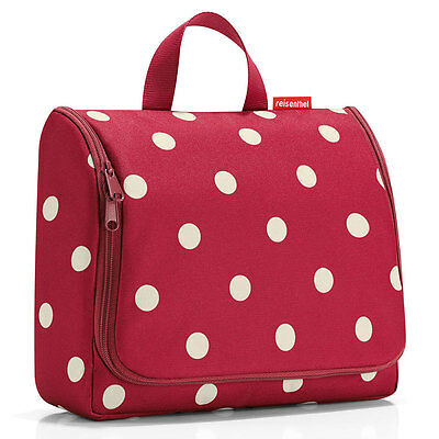 NEW Extra Large Hanging Wash Bag Ruby Dots with mirror and hook