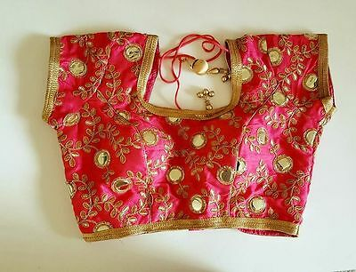 USA Pink mirror work embroidered floral work plastic mirror saree choli blouse
