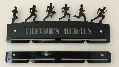 Personalised 5mm Acrylic Male Running medal hanger / rack/  With An Extra Rail