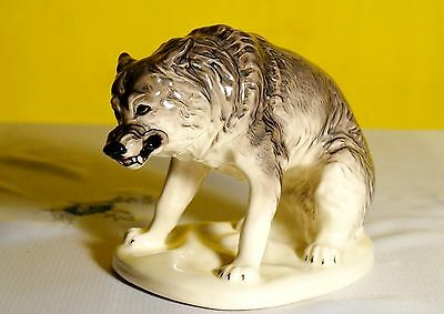 Wolf porcelain figurine from Russia sculpture