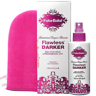 Fake Bake Flawless Darker Self Tanning Deeper Bronze Liquid with Mitt 6 oz