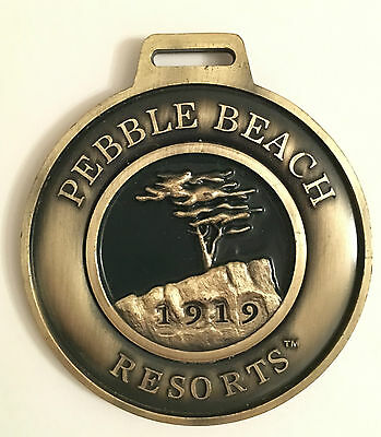 *Genuine* PEBBLE BEACH Golf Bag Tag & Leather Strap (Perfect Present Gift)