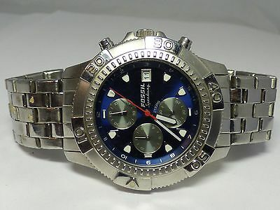 Men's Stainless Steel Fossil Speedway Blue Chronograph Wrist Watch CH-2352