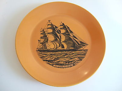 Collectable Black And Orange Plate Featuring The Flying Cloud Ship