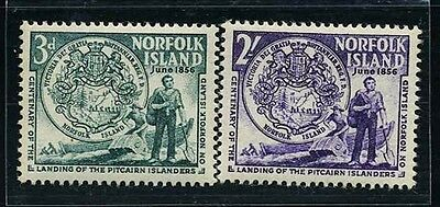 NORFOLK Is. SC19~20 Set, 1956  Seal and first Settlers MNH CV$4