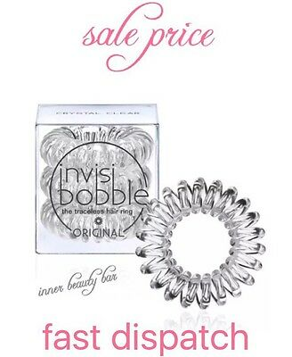 Invisibobble Original traceless Hair Ring Bracelet Band Crystal Clear Pack Of 3