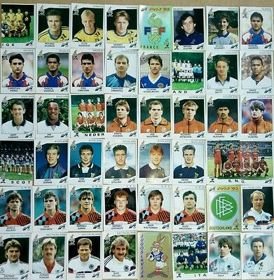 Euro 92 PANINI STICKERS LOT 48 DIFFERENTS NO DOBLES ALL WITH ORIGINAL BLACK BACK