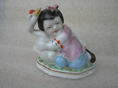 Old Vintage China figurine  Girl with goose