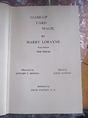 CLOSE-UP CARD MAGIC By HARRY LORAYNE OCTOBER 1962 1ST. EDITION 3RD PRINTING HC