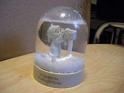 Precious Moments Waterball Snow Dome Sending A White Christmas 1986 Girl Mailbox
