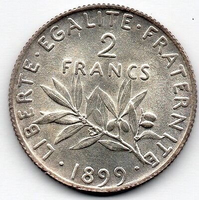 France 2 Francs 1899 (83.5% Silver) Coin